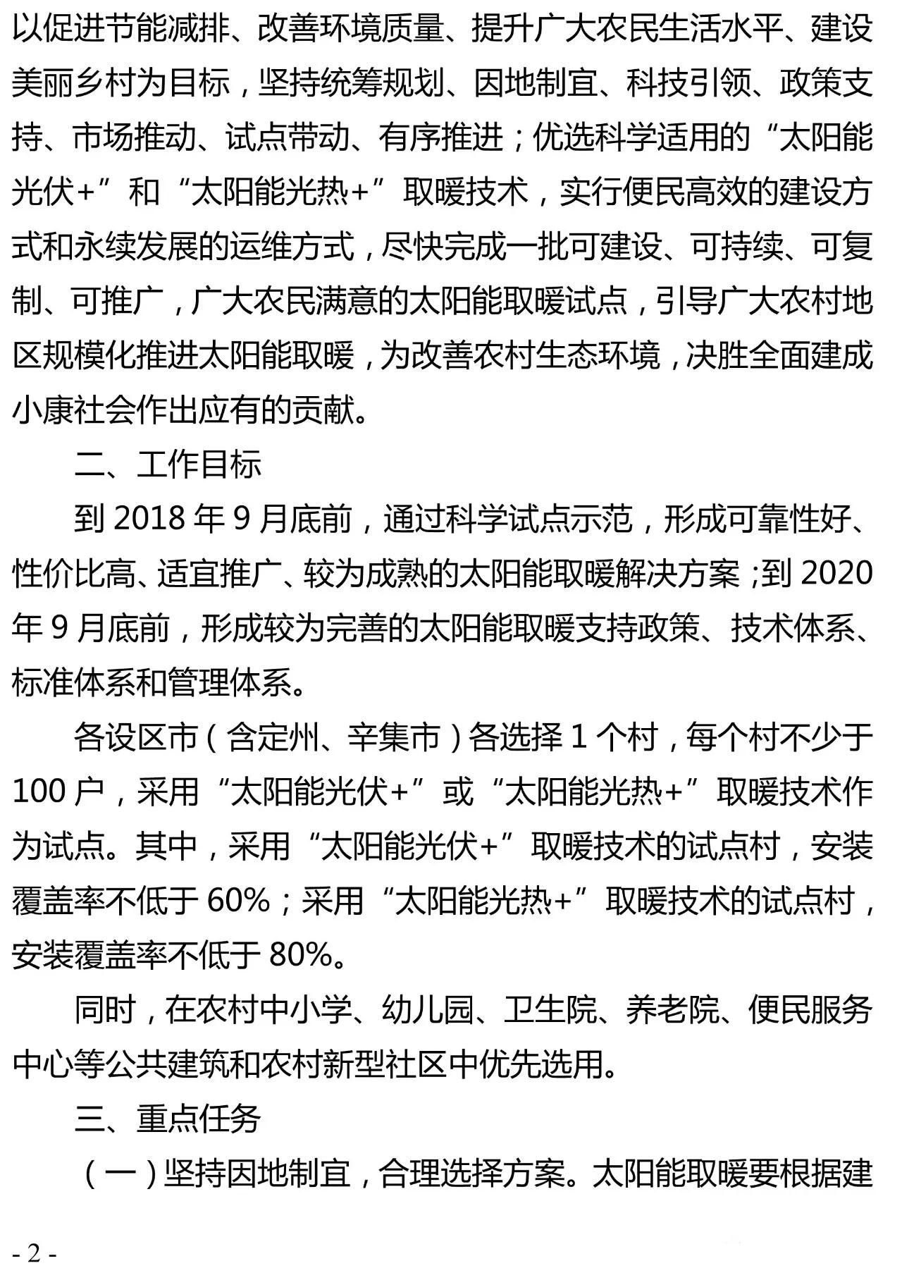 重磅|河北省农村地区太阳能供暖试点实施方案(河北省补贴0.2元/千瓦时)