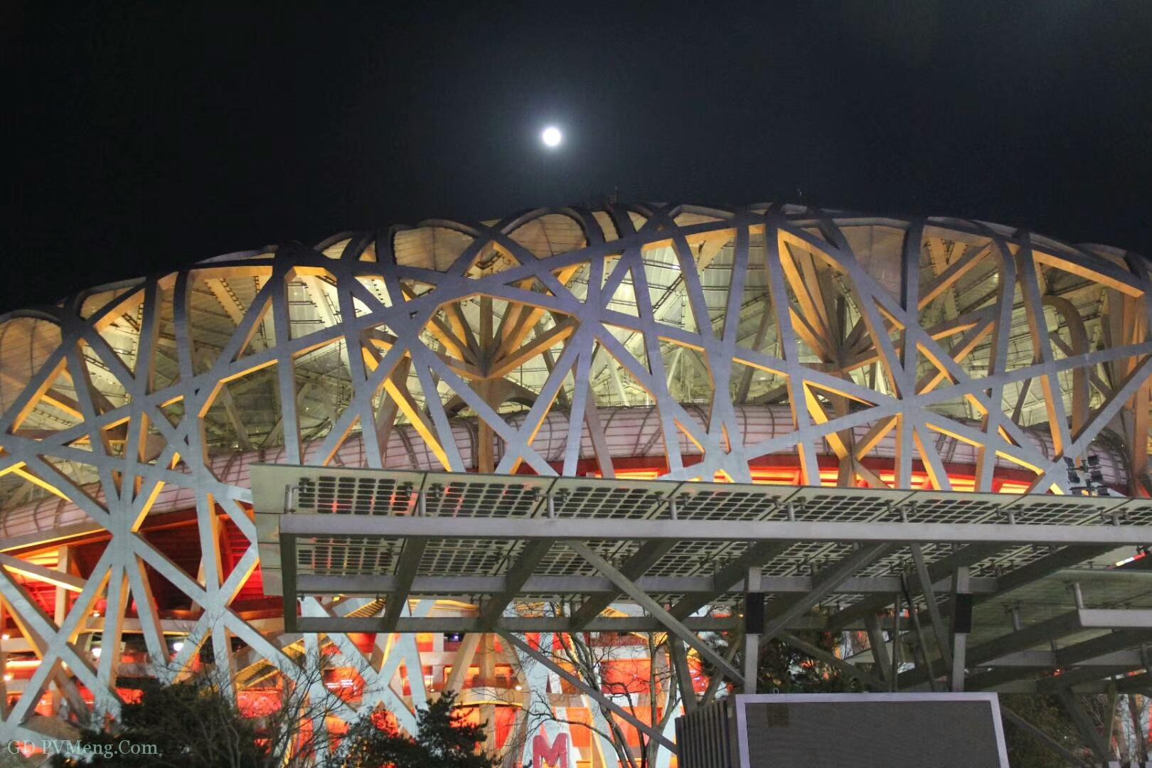 奥运中心区元宵节夜景:鸟巢+光伏20190219