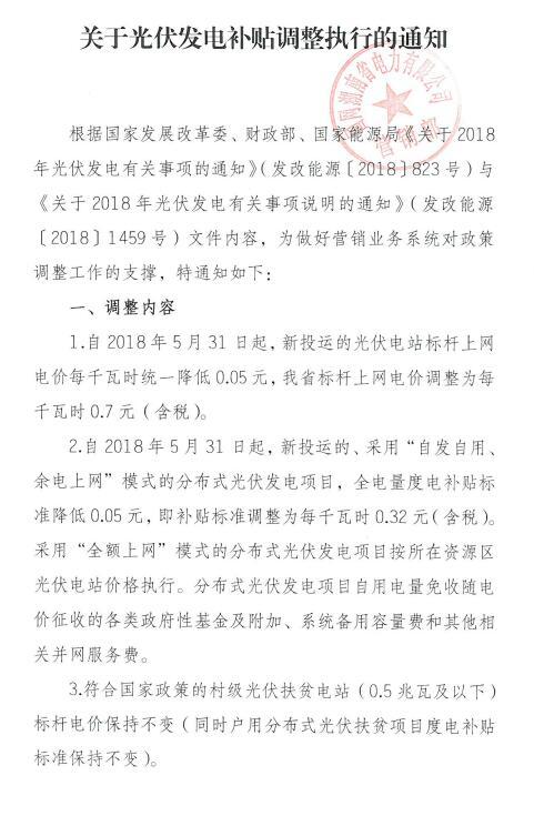 """0181210国网湖南-关于光伏发电补贴调整执行的通知"""""""