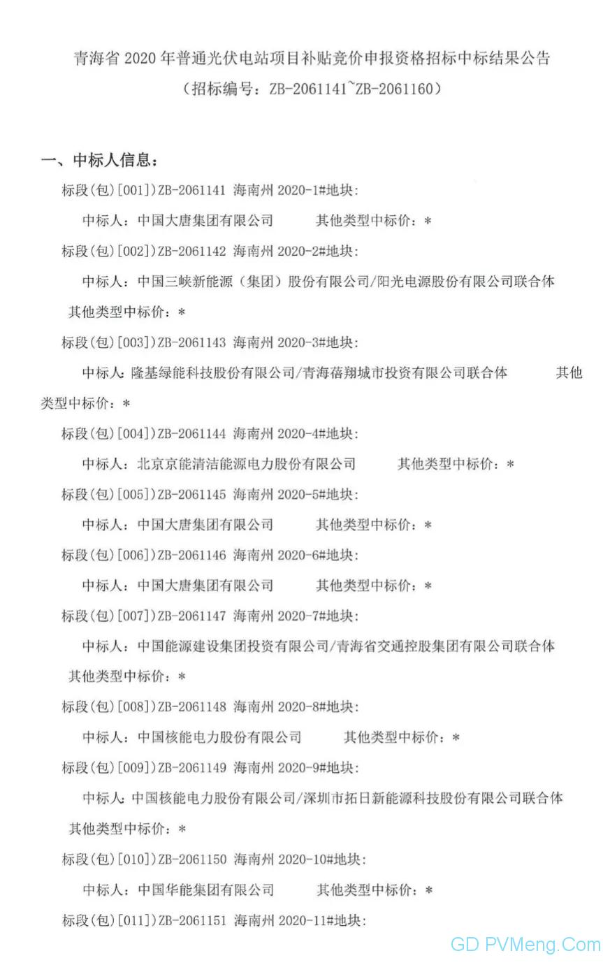 青海省2020年普通光伏电站项目补贴竞价申报资格招标中标结果公告20200611